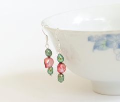 PinkGreenPearlEarrings