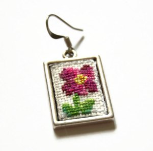 Use Coupon Code RMSUCK for 15% off these Pink Daisy Cross Stitch Earrings!